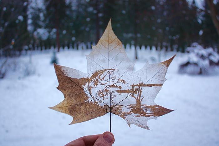Bass Fishing Leaf Art Hand Carved Real Leaf Carving Art Home Decor