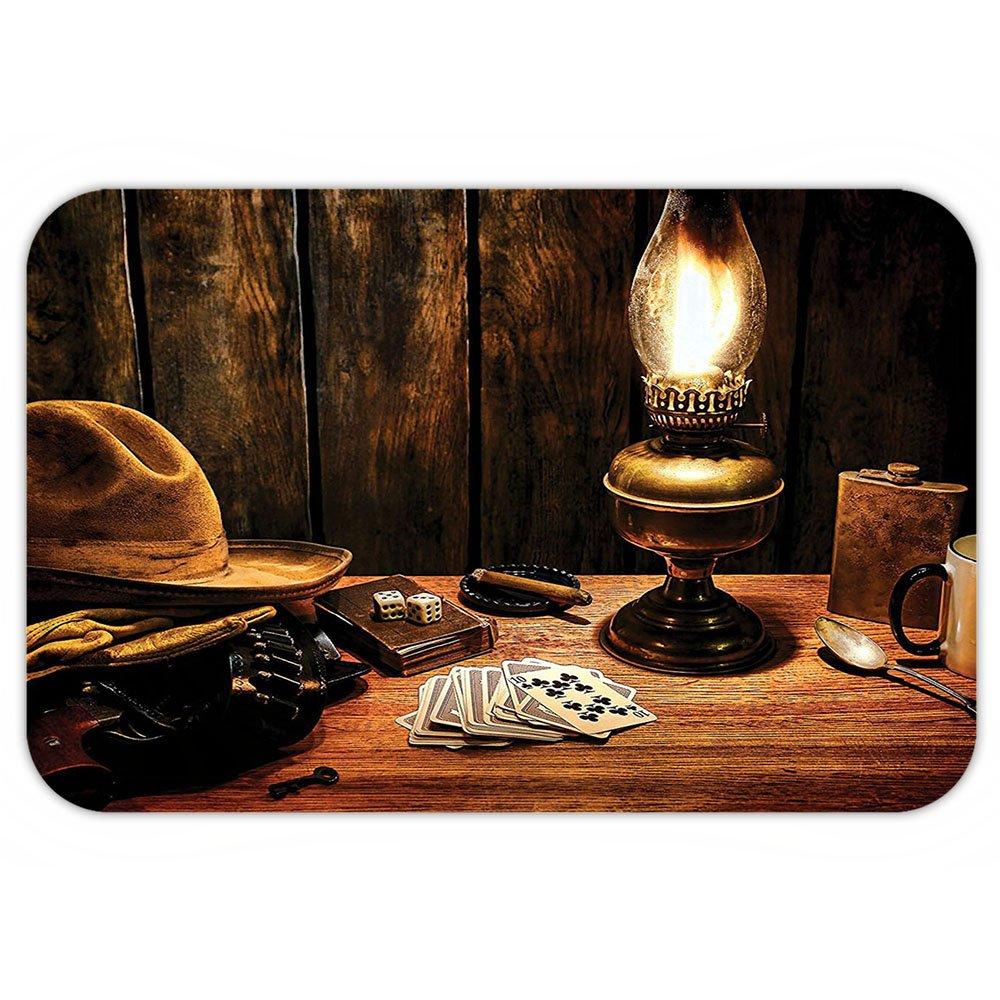 VROSELV Custom Door MatWestern Decor Mystic Night in Hotel Room Dallawith Lantern Nightstand Table and Poker Card Brown
