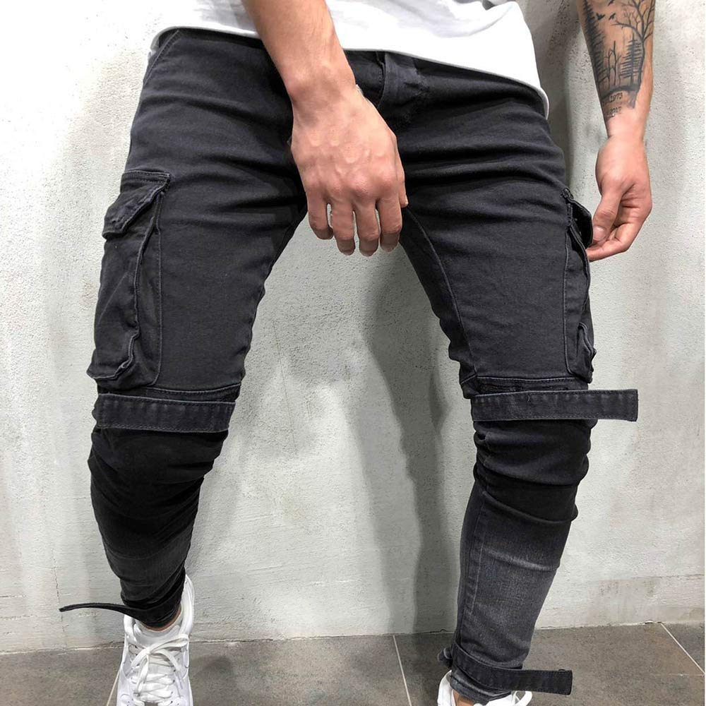 LEERYAAY Cargo/&Chinos Mens Autumn Denim Cotton Straight Hole Pocket Trousers Distressed Jeans Pants