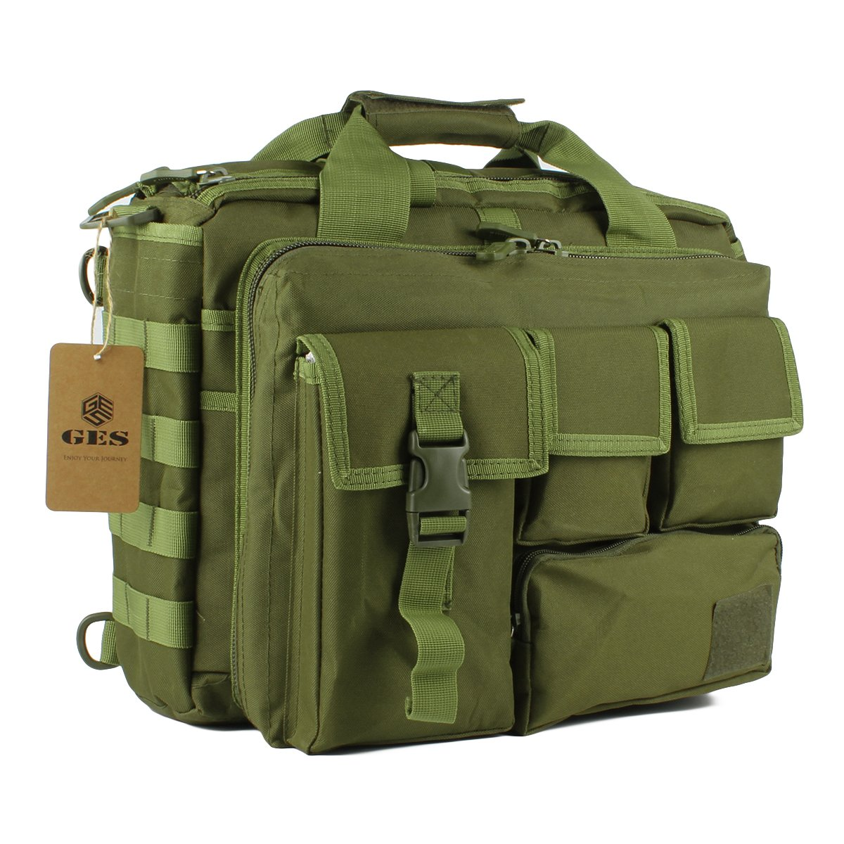 GES Multifunction Mens Outdoor Tactical Nylon Shoulder Laptop Messenger Bag Briefcase Handbags Large Enough for 15.6 Laptop/Camera (Black) GES CO. LTD 4328535660