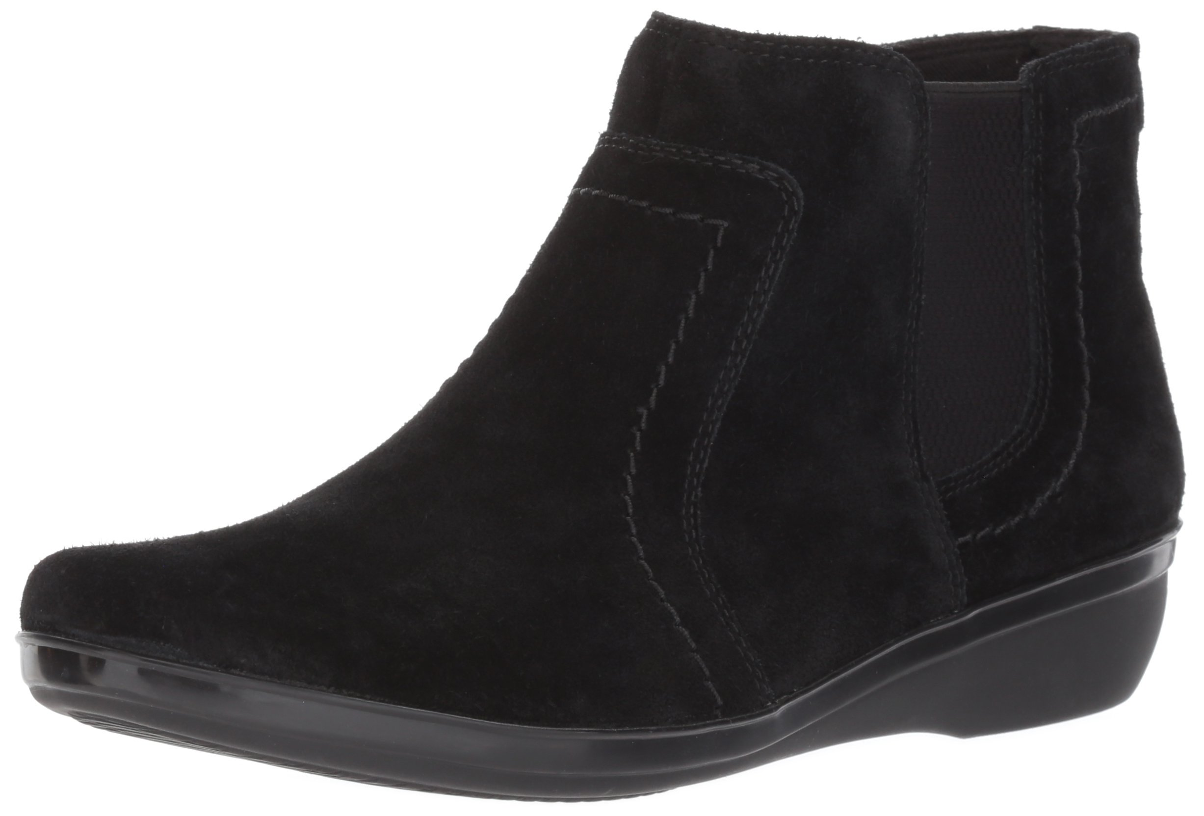 CLARKS Women's Everlay Leigh Ankle Bootie, Black Suede, 11 M US
