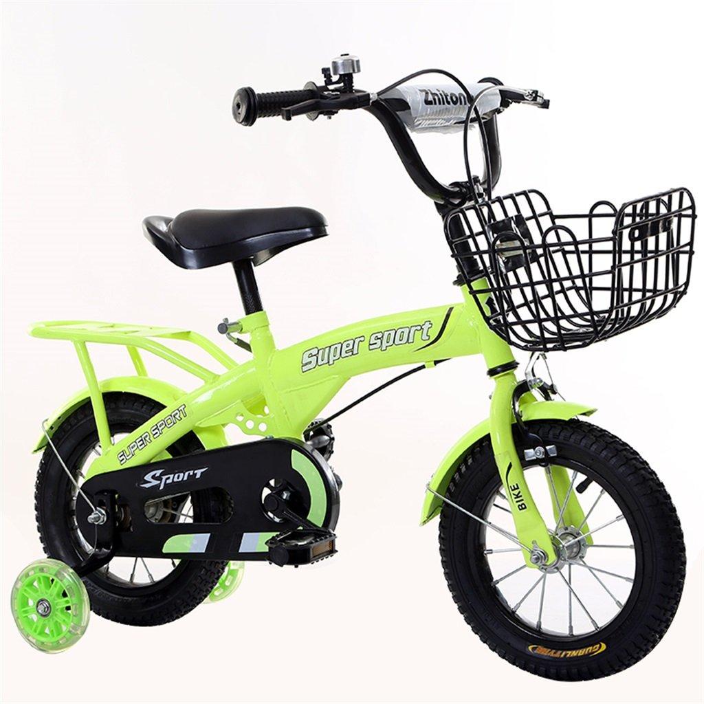 子供の自転車12|14|16|18インチ屋外の子供赤ちゃんキッドマウンテンバイクフラッシュトレーニングホイールで3-9歳の男の子の女の子のギフト|アイアンバスケット|バックシートセーフグリーン B078GQGT6P 16 inches