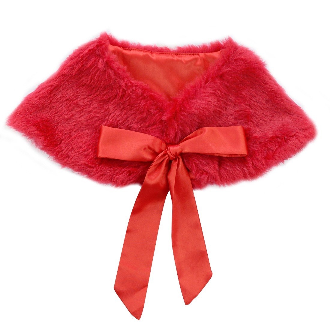 dPois Girls' Faux Fur Flower Dress Bolero Shrug Juniors Bridesmaid Wrap Shawl Bowknot Jacket Cloak