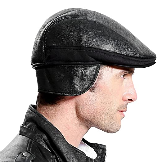 19665f88532 Image Unavailable. Image not available for. Color  Roffatide Men Faux  Leather Ear Flap Newsboy Cap ...