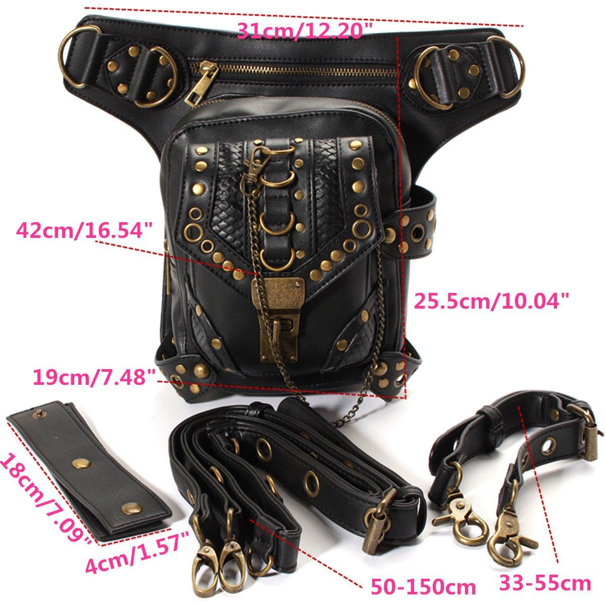 OURBAG Retro Women Steampunk Belt Bag Waist Leg Hip Holster Purse Pouch Packs Black Medium