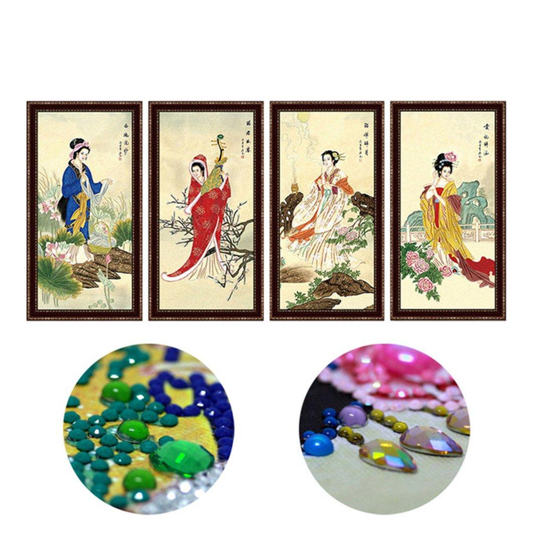 Mazixun Diamond Painting Special Shaped Diamond Embroidery DIY 5D Diamond Mosaic Pattern Broderie Diamant Chinese 4 Beauty Girl Portrait 40x75cmx4PCS