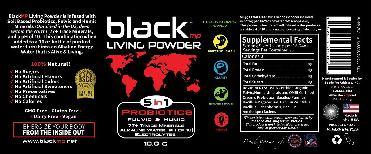 BlackMP Living Powder - SBO Probiotic, Fulvic and Humic Minerals (30 Servings) All Natural Formula Promotes Optimal Health for Women, Men, and Children.3 pack