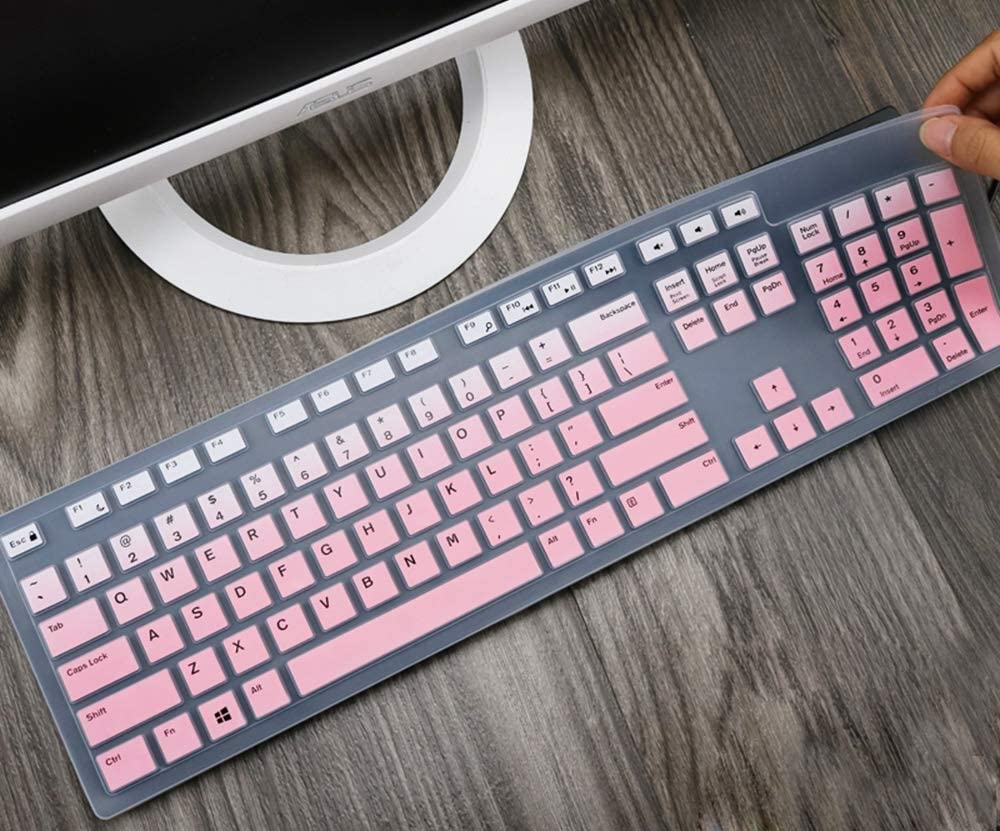 Silicone Keyboard Skin Cover Compatible with Dell Desktop KM636 KB216 Keyboard, Dell Optiplex 5250 3050 3240 5460 7450 7050, Dell Inspiron AIO 3475 3670 3477 All-in one Desktop Keyboard (Pink Ombre)