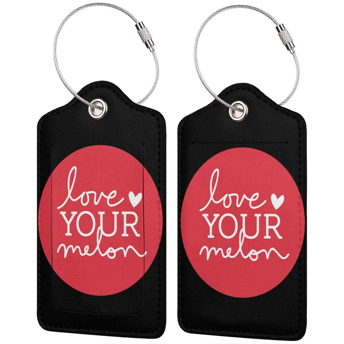 Love Your Melon Heart Labels With Privacy Cover For Travel Bag Suitcase Travel Accessory Luggage ID Tag