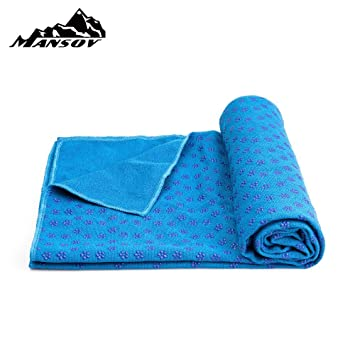 """Mansov Yoga Mat Towel 72""""×24""""Long Perfect Size Super Premium Sweat Absorbent Bikram Hot Yoga Towels Ideal for Hot Yoga, Fitness, Exercise With ..."""