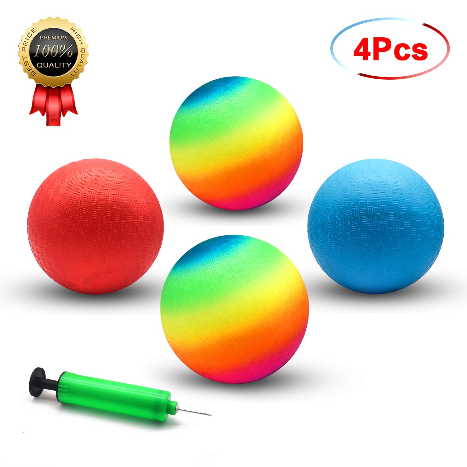 Playground Balls, 8.5 Inch Dodgeball Kickball for Kids Adults Outdoor Four Square Handball Game with Hand Pump (4 Pack) by BeeTwo