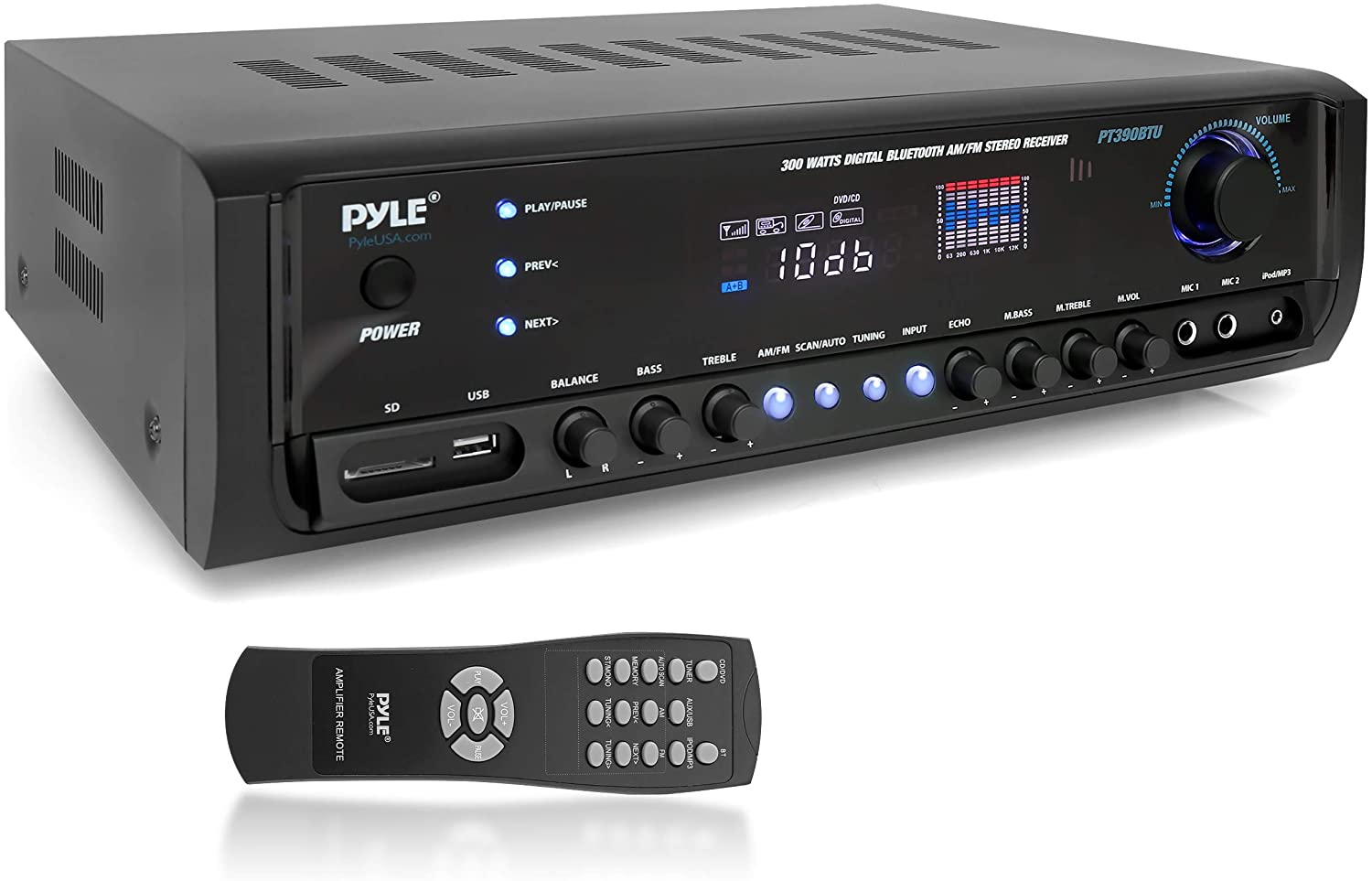 Pyle Wireless Bluetooth Power Amplifier System 300W 4 Channel Home Theater Audio Stereo Sound Receiver Box Entertainment w/ USB, RCA, 3.5mm AUX, LED, Remote for Speaker, PA, Studio- PT390BTU,BLACK