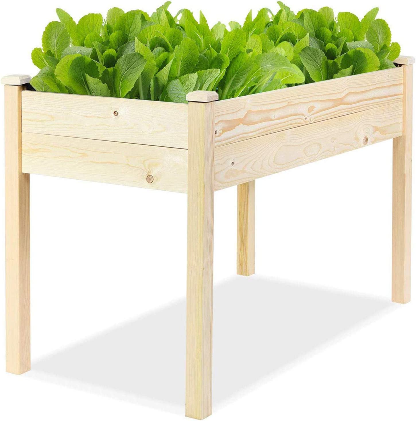 Incbruce 4ft Wooden Raised Garden Bed Planter, No-Bolt Assembly Elevated Flower Bed Boxes Kit for Vegetable Flower Herb Gardening, Natural