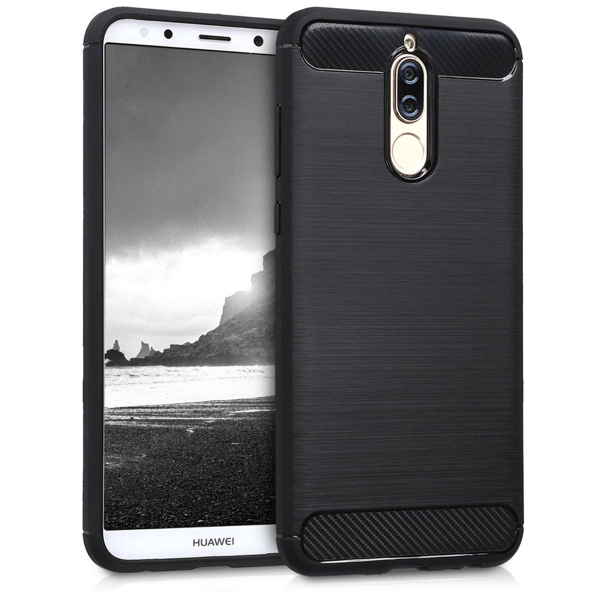 kwmobile Funda para Huawei Mate 10 Lite - Carcasa de [TPU] para móvil y diseño de Carbono Cepillado en [Negro]