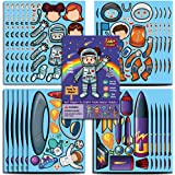 Space Astronaut Stickers,Make Your Own Astronaut/UFO & Alien/Rocket Stickers,Make-A-Face Stickers,Outer Space Theme Party Fav