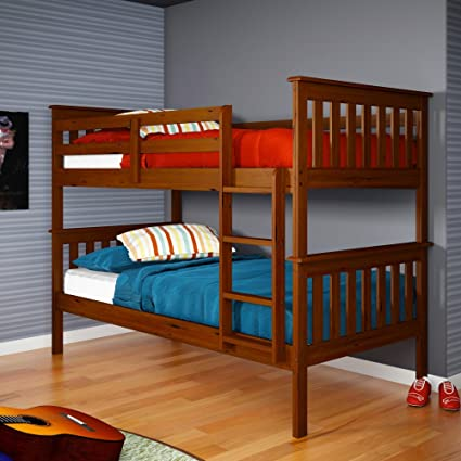 Amazon Com Donco Twin Over Twin Mission Bunk Bed In Light Espresso