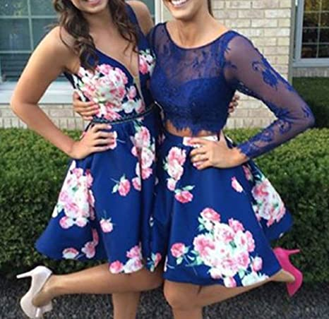 59105aa1e1 BessDress V Neck Floral Print Short Homecoming Dresses 2018 Satin Beaded  Party BD305 at Amazon Women s Clothing store