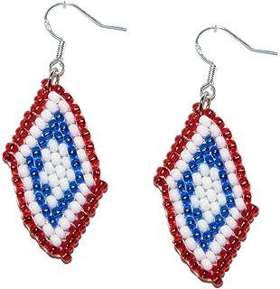 Greece Greek Hellas Bead Flag Earrings - Handmade Bead Work Jewellery