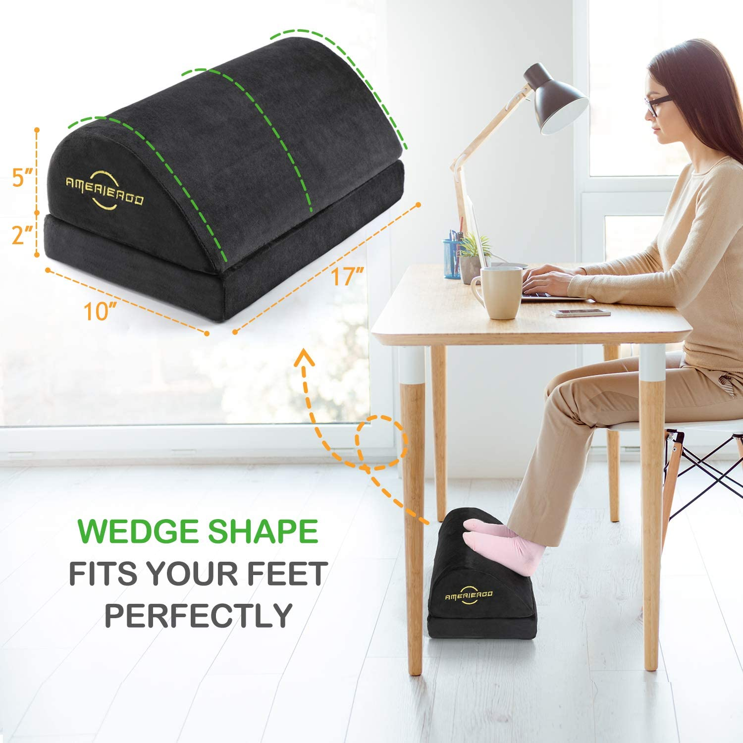 AMERIERGO Adjustable Under Desk Foot Rest - Office Desk Foot Rest with 2 Adjustable Heights, Ergonomic Foot Rest for Back & Knee Pain Relief, Foot Rest Cushion with Fabric Breathable Washable Cover : Office Products