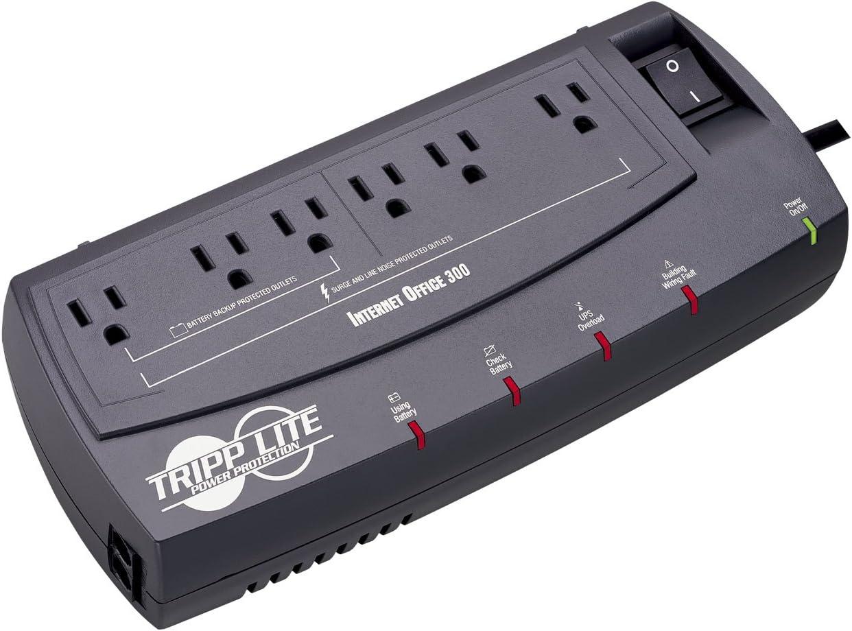 Tripp Lite INTERNETOFFICE300 300VA 150W UPS Desktop Battery Back Up Compact 120V RJ45, 6 Outlets