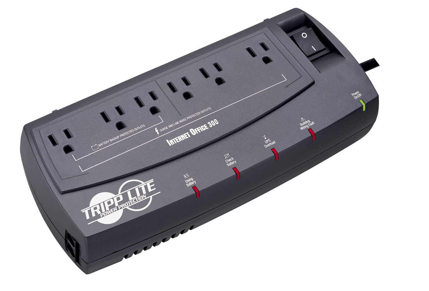 Tripp Lite INTERNETOFFICE300 300VA 150W UPS Desktop Battery Back Up Compact 120V RJ45, 6 Outlets by Tripp Lite