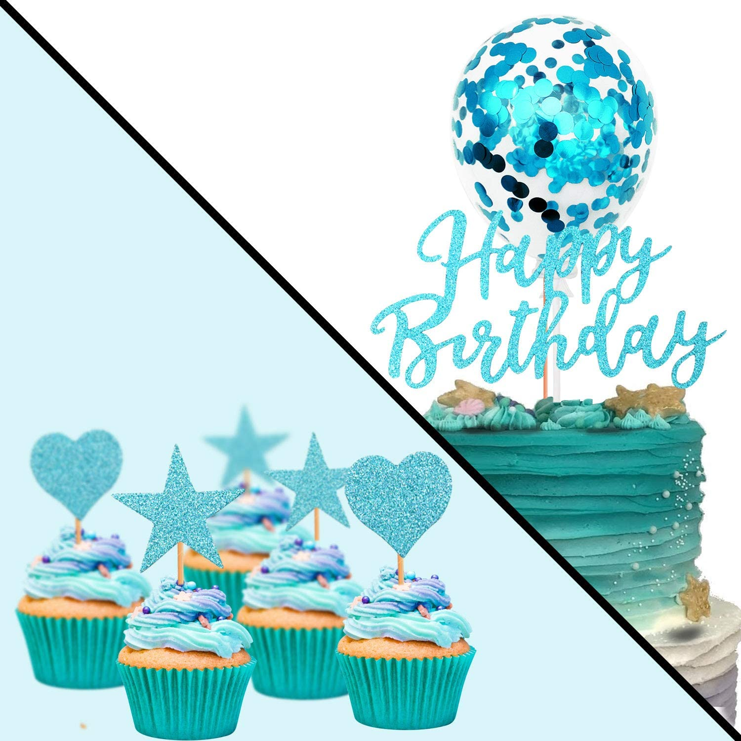 Humairc Blue Cake Topper Silver Confetti Balloon Birthday Cake Decoration Blue Cupcake Topper for Girls Women Boys Mans Kids Adults Birthday Blue