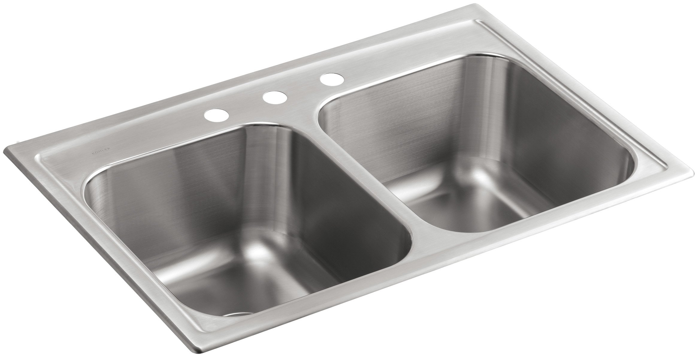 KOHLER K-3847-3-NA Toccata Top-Mount Double-Equal Bowl Kitchen Sink with 3 Faucet Holes, Stainless Steel by Kohler