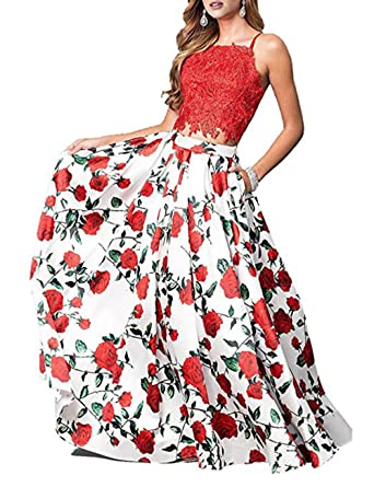 Ri Yun Sexy Spaghetti Strap Backless Beaded Princess Long Floral Prom Dresses Evening Gowns 2018 For Women at Amazon Womens Clothing store: