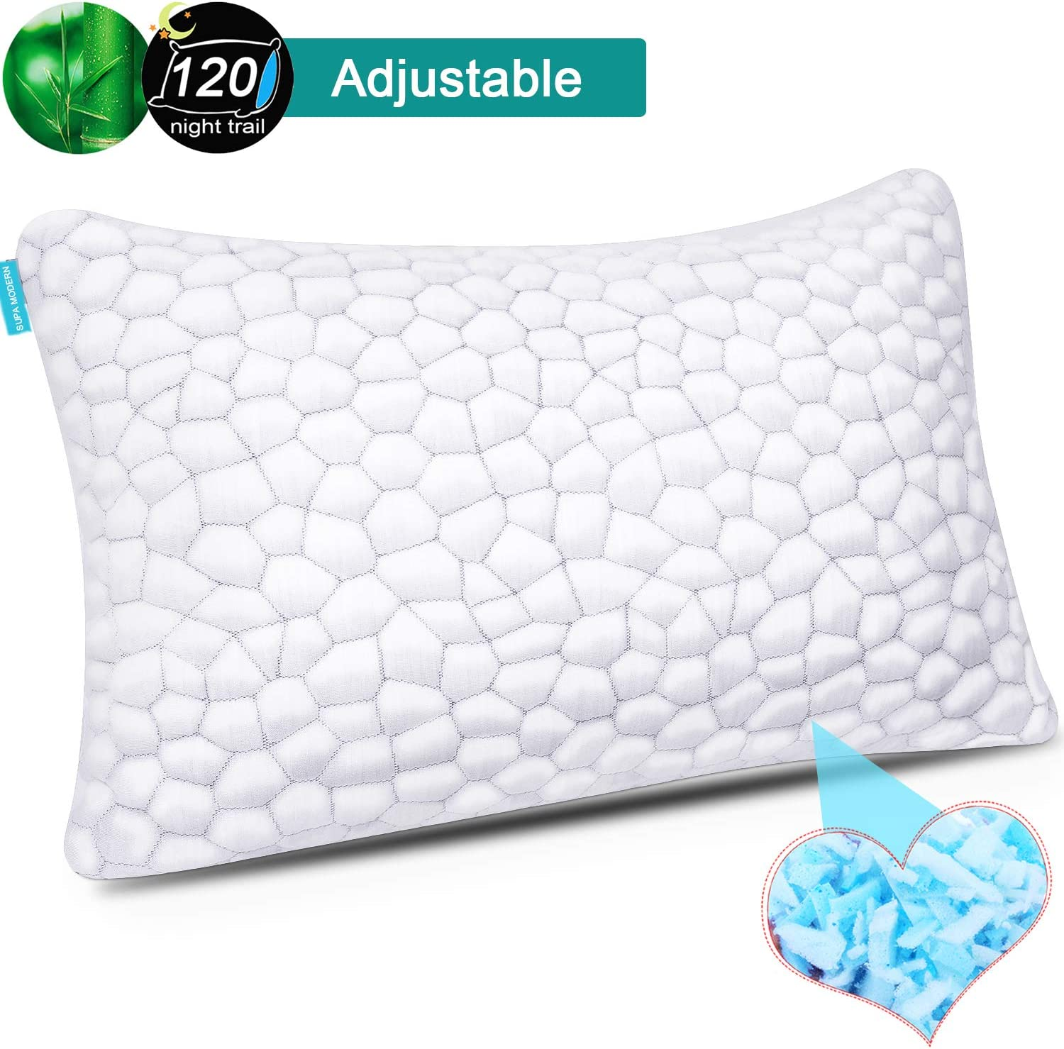 Bamboo Cooling Gel Pillowcase Cover for Memory Foam Pillow Washable Case