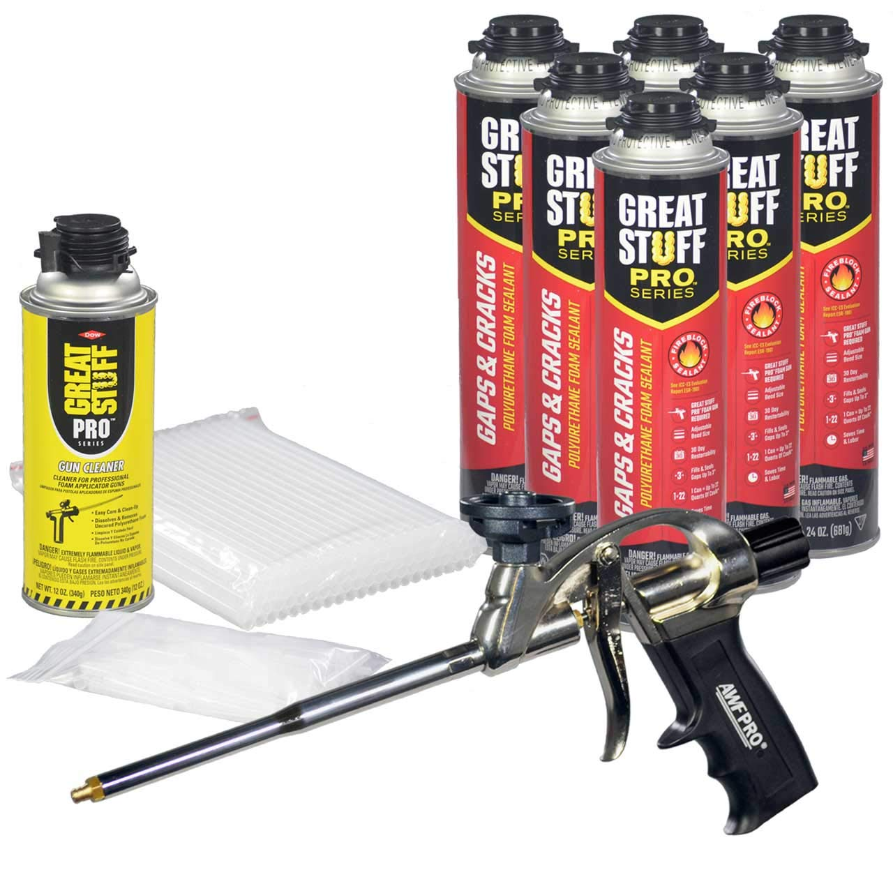 Dow Great Stuff PRO Gaps and Cracks 24 oz cans (6) + AWF Pro Foam Gun (1)+ Plastic Extension Straws (100) + Plastic Tips (100) + Dow Foam Cleaner (1) by Dow