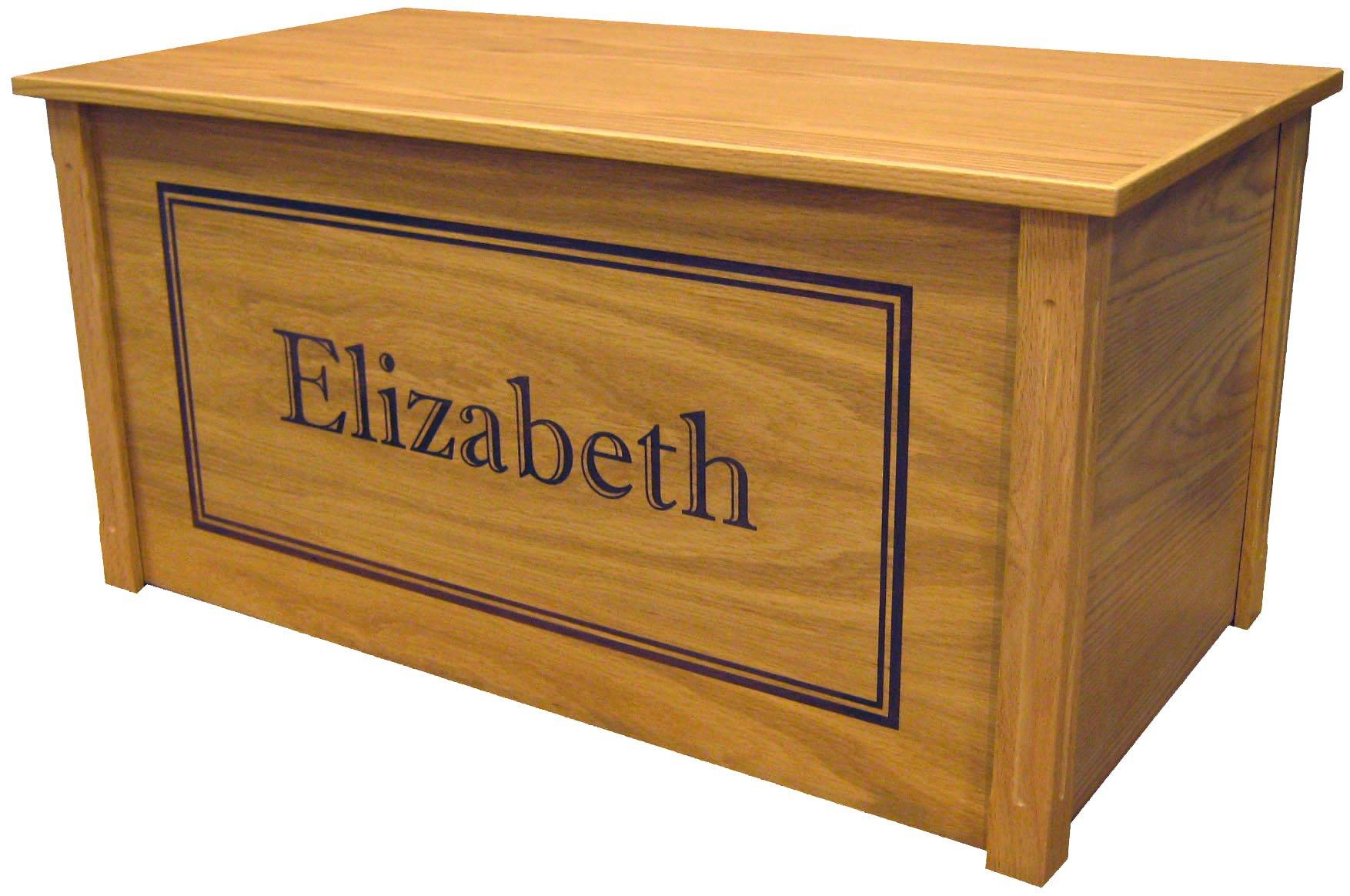 Wood Toy Box, Large Oak Toy Chest, Personalized Shadow Font, Custom Options (Cedar Base)