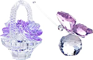 H&D HYALINE & DORA Handmade Crystal Butterfly with Flower Basket Figurine Collectable Ornament Home Decor Statue Gifts