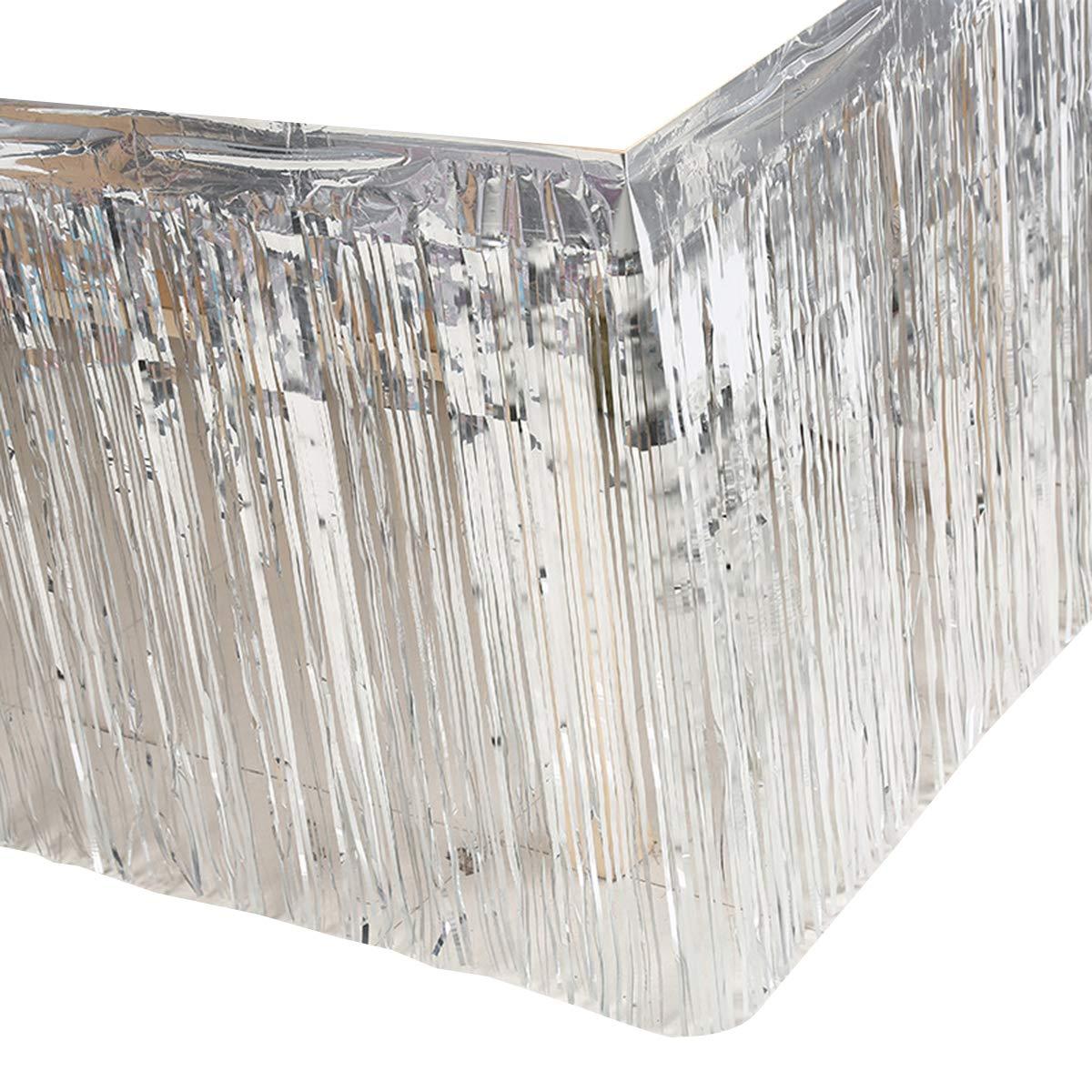 Leegleri 2 Pack Metallic Foil Fringe Table Skirt Silver Table Skirt Tinsel Party Table Skirt Banner for Mardi Gras Party(L108 inH 29in,Silver)