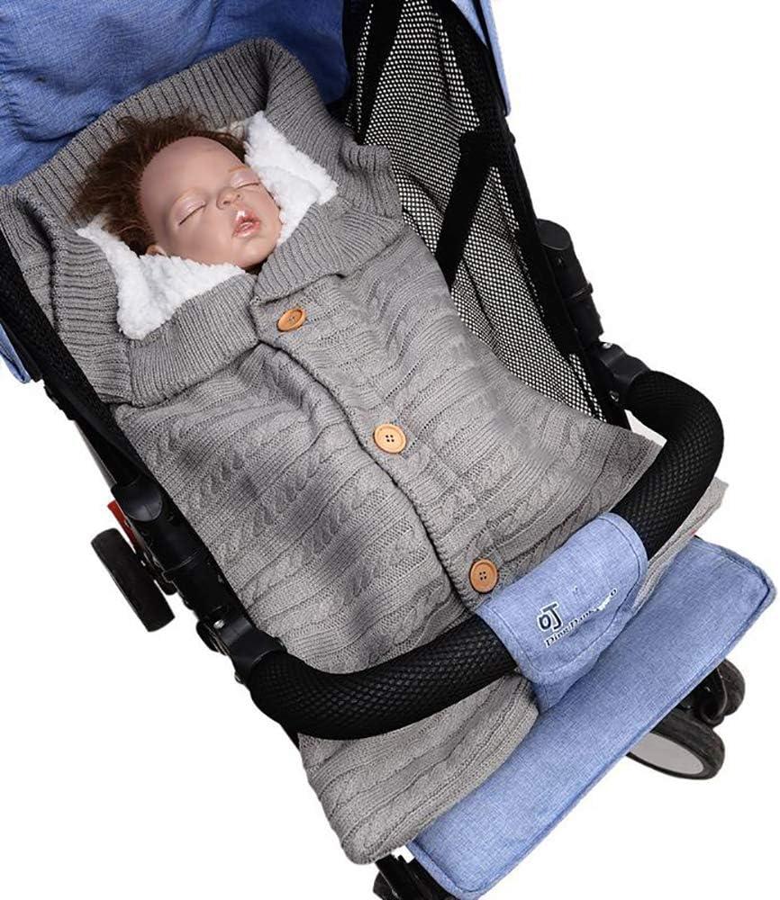 Ximai Sac de Couchage B/éb/é Tricot Coton Chaud Peluche Couvertures Demmaillotage pour Gigoteuses pour Poussette Nouveau-N/é 0-24 Mois