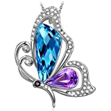 SIVERY 'Butterfly Kiss' Jewelry Necklace with Blue and Green Swarovski Crystal, Jewelry for Women Gifts for Mom