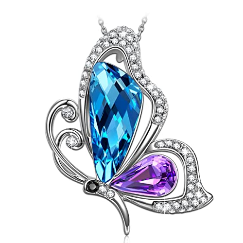 SIVERY Necklaces for Women Butterfly Kiss Jewelry Woman Necklace Pendant with Blue Purple Swarovski Crystal, Jewelry for Women, Gifts for Mom
