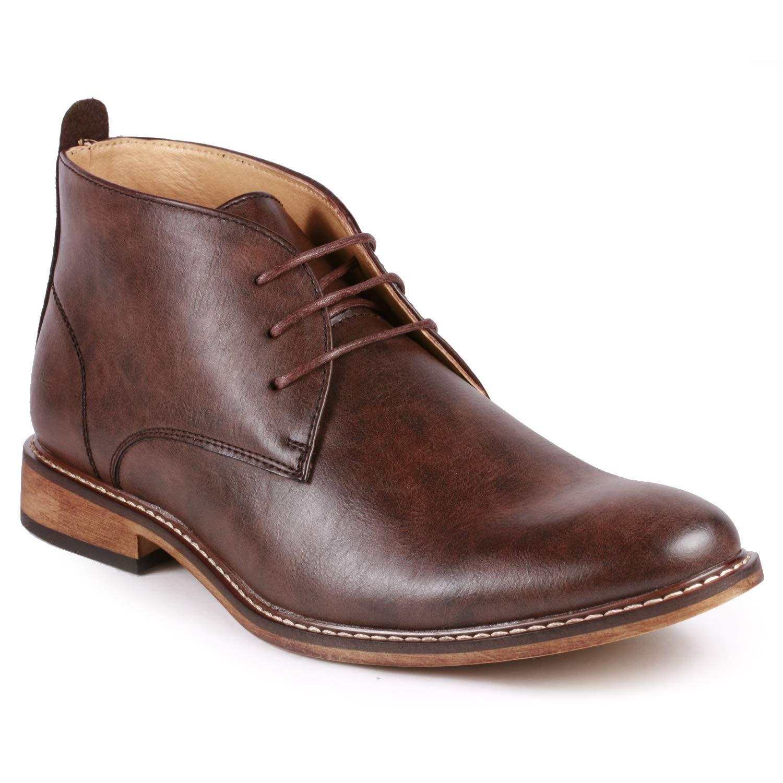 Metrocharm MC149 Men's Lace up Oxford Fashion Ankle Chukka Boots (7, Dark Brown)