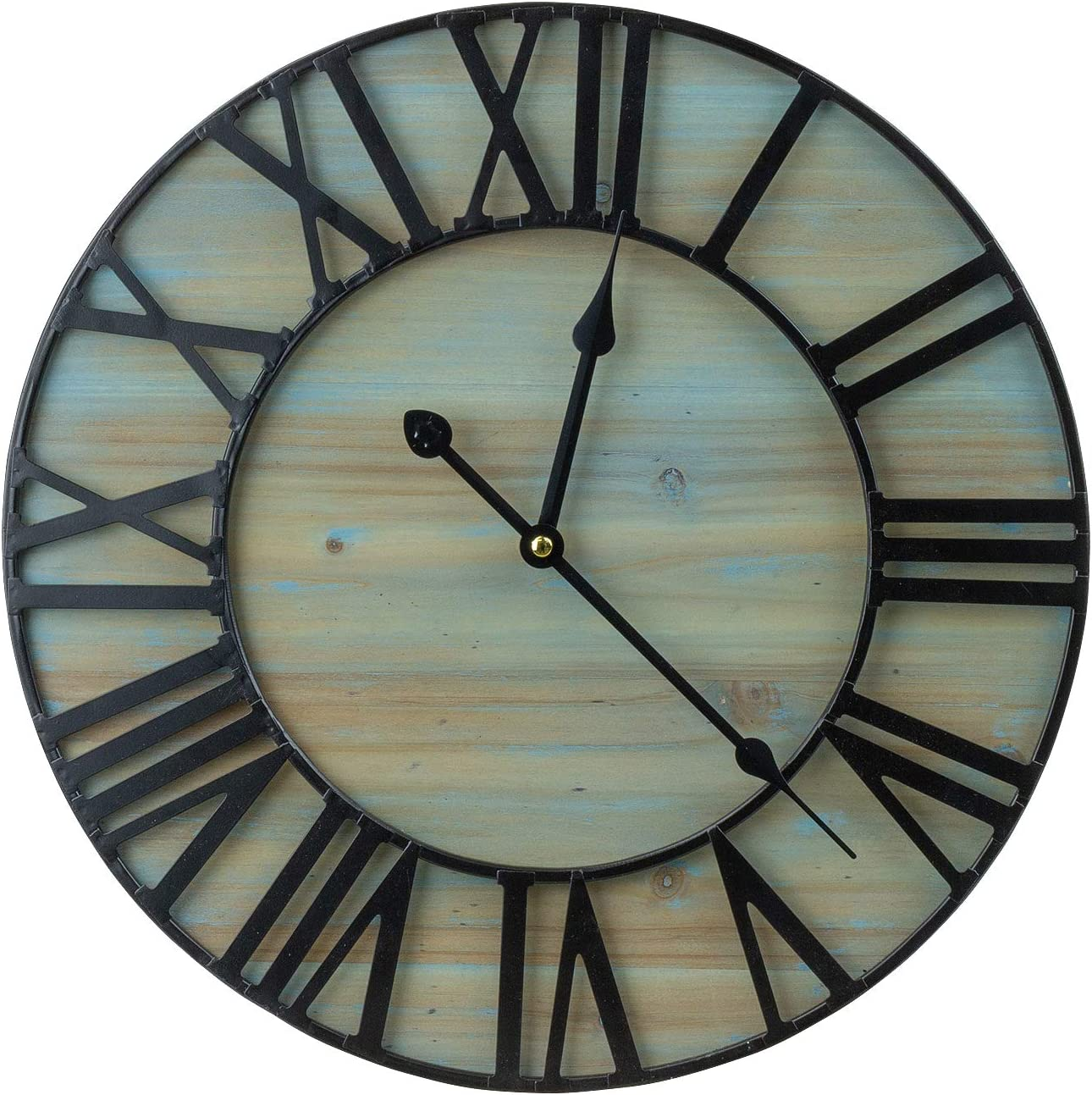 "Sorbus Large Decorative Wall Clock, 16"" Round Centurion Roman Numeral Hands, Coastal Beach, Big Farmhouse Rustic Vintage Modern Style Home Decor Ideal for Living Room, Analog Wood Metal Clock"