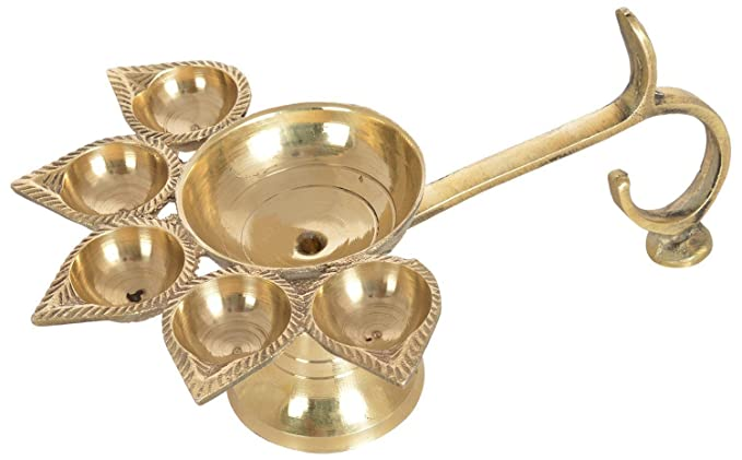 Chandrika Pearls Gems & Jewellers Dhanteras Brass Hindu Puja Camphor Burner Lamp Panch Aarti - 5 Face For Puja
