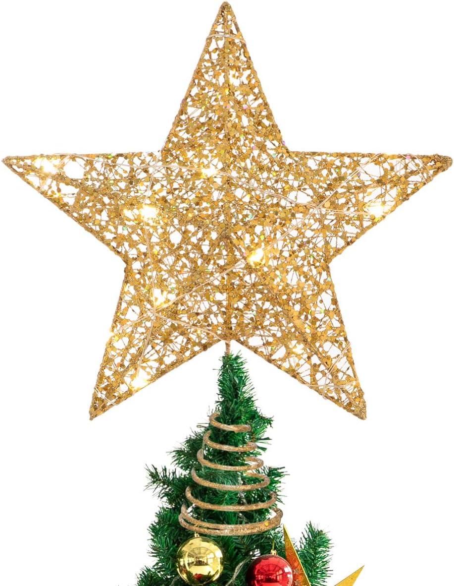 Christmas Festival Star Treetop Tree Topper Light Xmas Party RGB Glitter Light