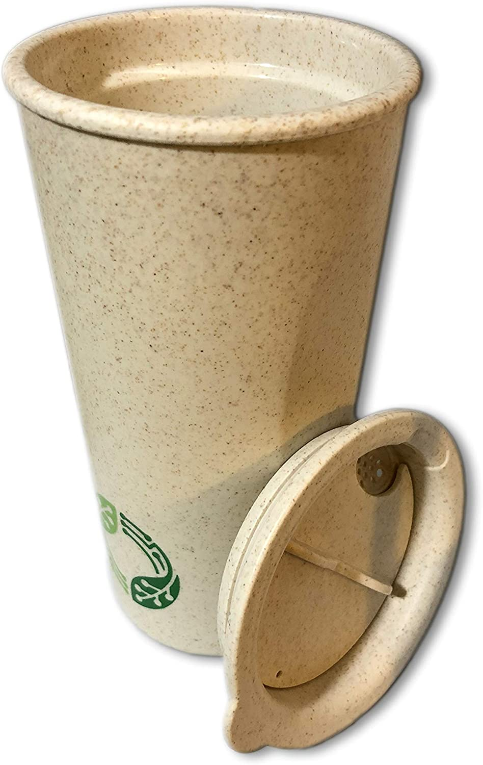 Hsc 16oz Reusable Coffee Cup, Double wall Insulated Tea cup with Lid, Eco-Friendly BPAFree Non-Toxic Travel Mug for home, school, Travel and Office,(WheatStraw)