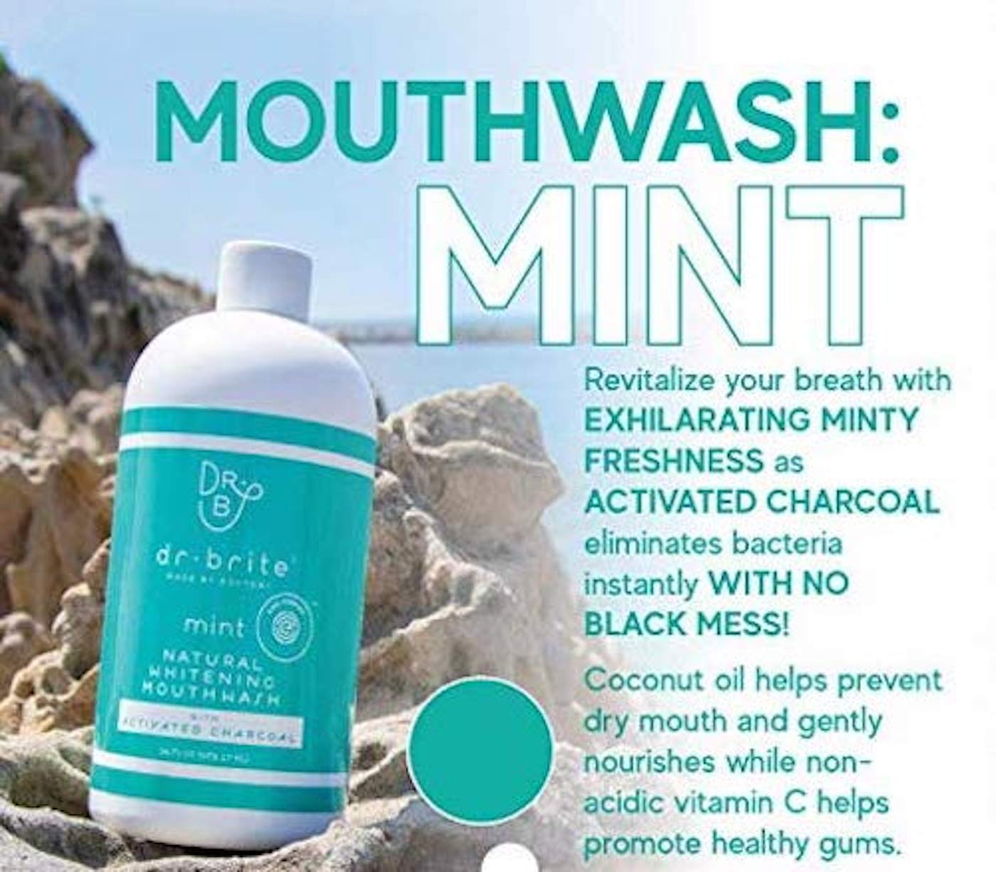 Dr  Brite Natural Whitening Vitamin C Mouthwash with Mint and Activated  Coconut Charcoal (16 Fl Oz)