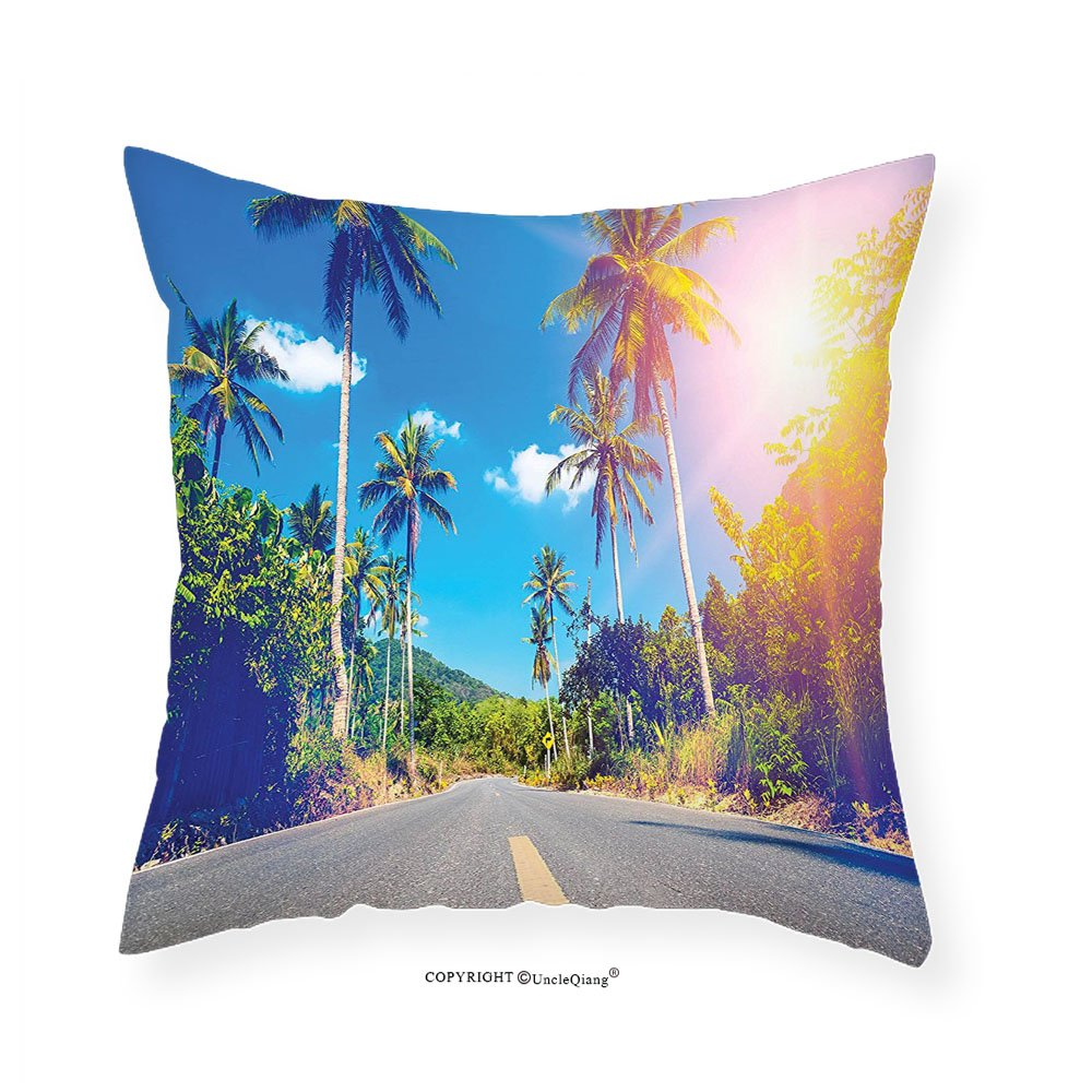 VROSELV Custom Cotton Linen Pillowcase Dorm Room Palm Trees Summer Joy Clouds Nature Tropical Beach Art Sun Fabric Room Dividers College Dorm Accessories Exotic Throws Bedroom Decor Blue Gre 16''x16''