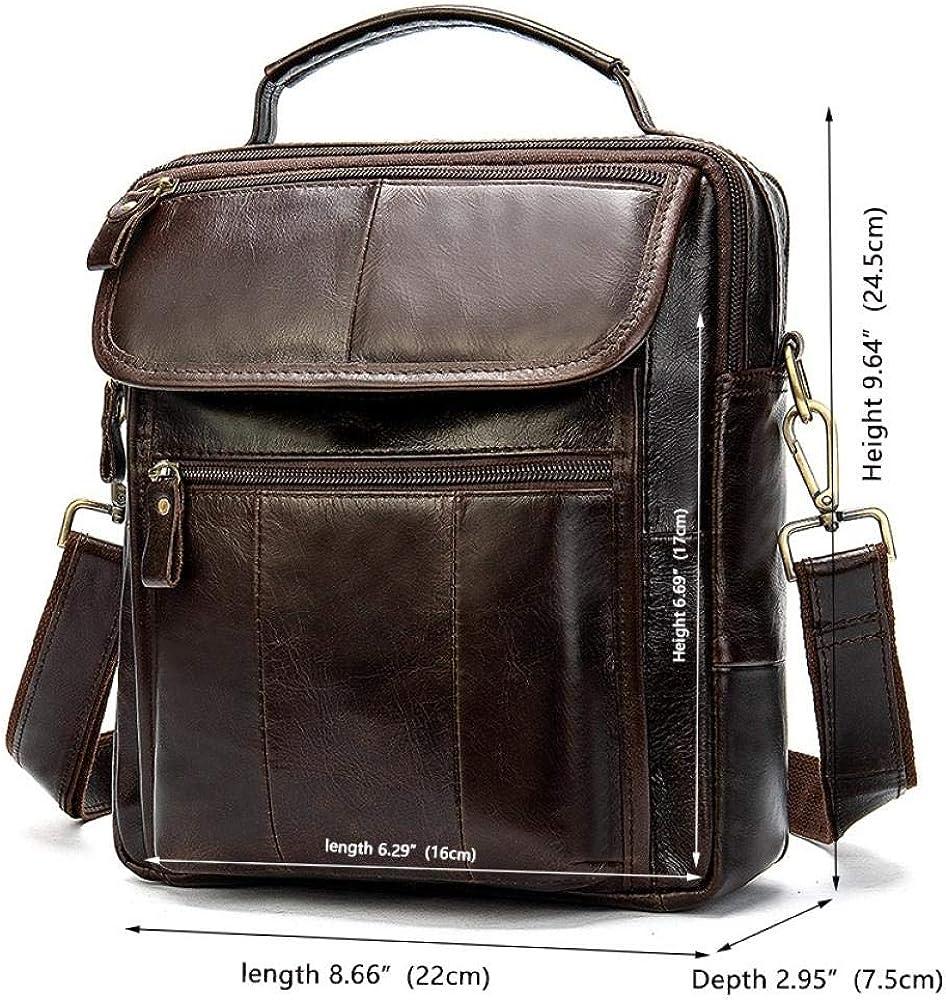 Cross-border exclusively for men's shoulder bag head layer leather casual business handbag crazy horse leather retro men's bag briefcase Matte Brown