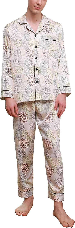 des Couples Chemise boutonn/ée boutonn/ée avec Poche 2019 Hommes Longue Ensemble de Pyjama V/êtement de Nuit Printemps /ét/é YAOMEI Homme Pyjamas de Couple Satin Soie
