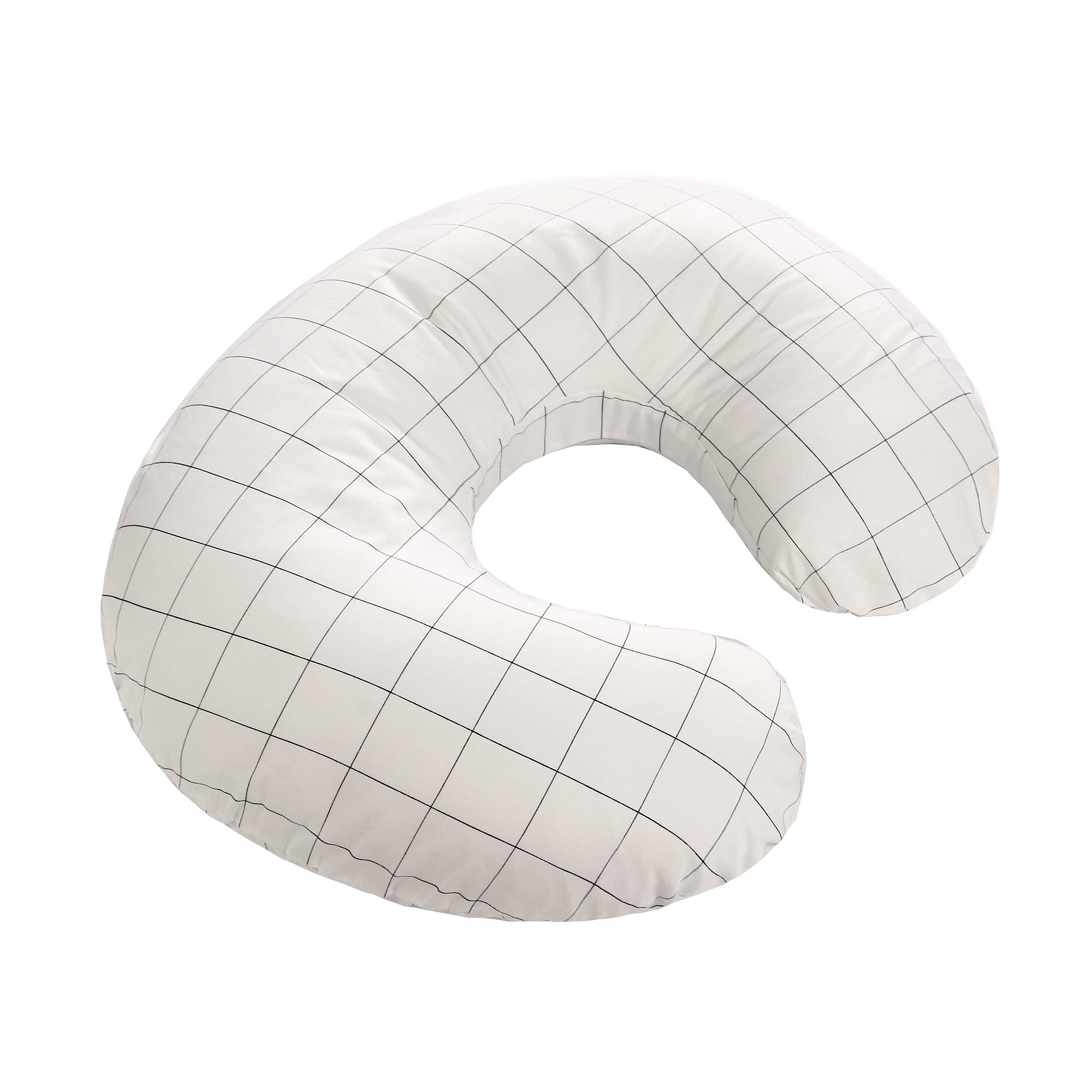 Nursing Pillow and Positioner, Best for Breastfeeding Moms and Bottle Feeding Baby, Soft Cotton Fabric Slipcover (White Grid)