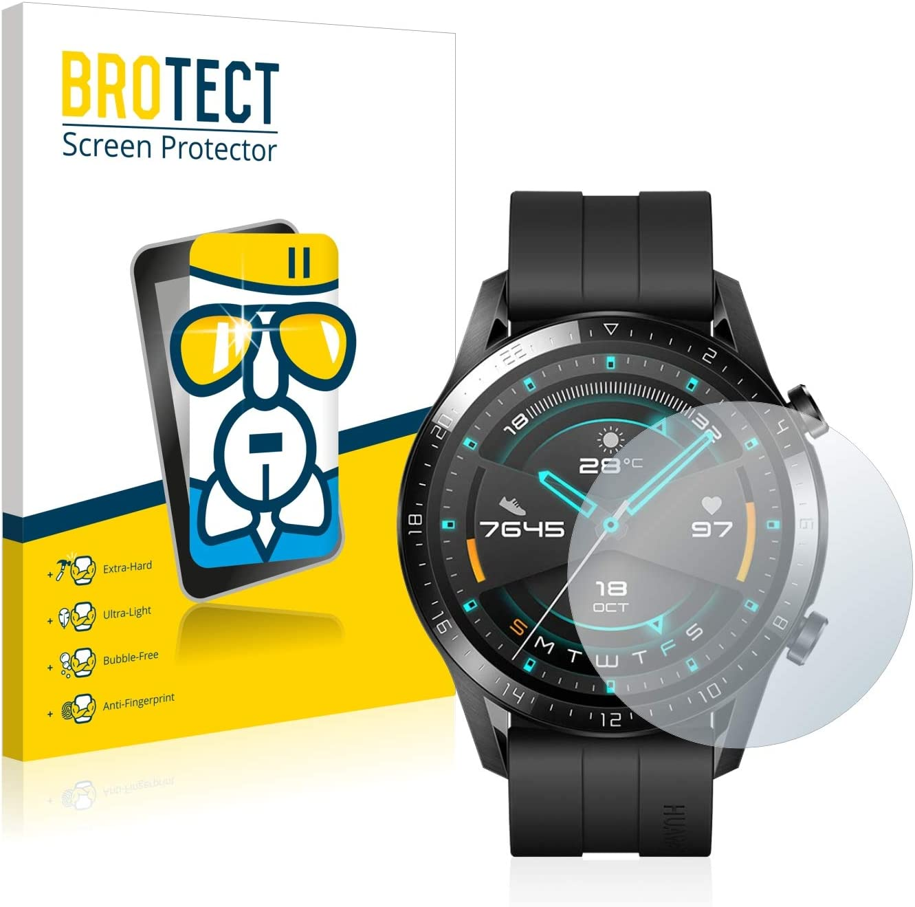 BROTECT Protector Pantalla Cristal Compatible con Huawei Watch GT ...