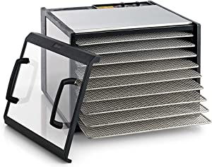 Excalibur 9 Electric Food Dehydrator with Stainless Steel Trays and Clear Door Features 26-Hour Timer Temperature Settings and Auto Shut Off Made in USA, Silver