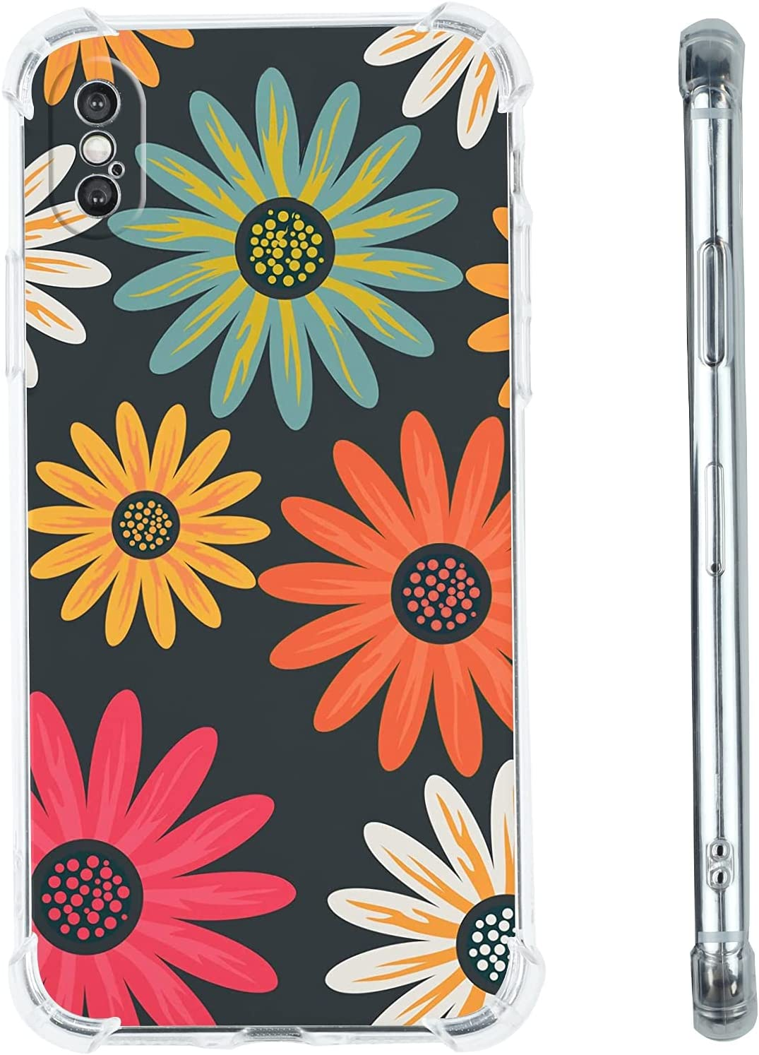 Daisy Flowers Phone Case for iPhone SE 2020/8/7,Cute Hippie Colorful Abstract Peace Sign Pattern iPhone SE 2020/8/7 Case for Women/Girl,Soft TPU Bumper Cool Trendy Gift Cover Case for Apple iPhone
