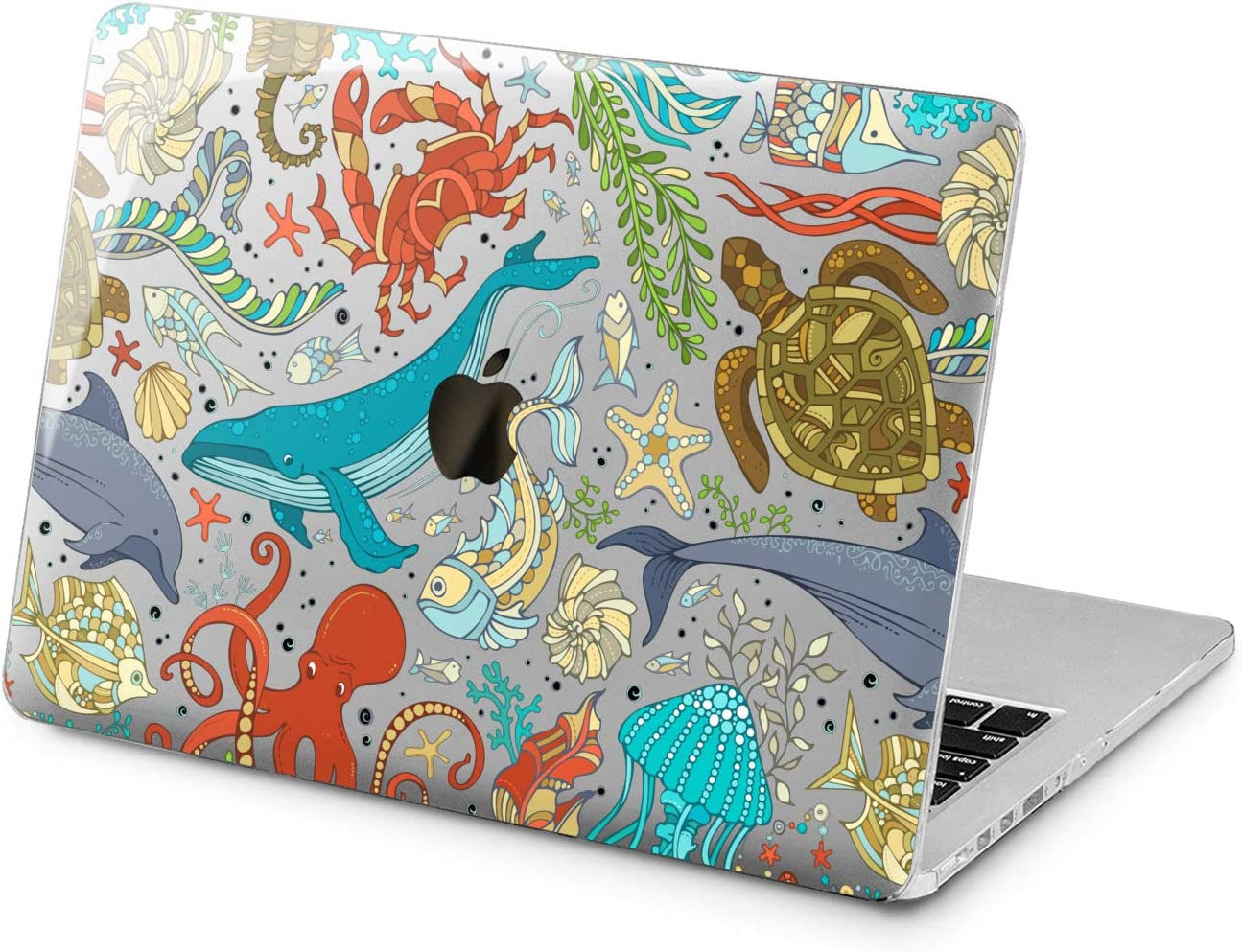 "Cavka Hard Shell Case for Apple MacBook Pro 13"" 2019 15"" 2018 Air 13"" 2020 Retina 2015 Mac 11"" Mac 12"" Underwater World Cute Ocean Fish Plastic Design Turtle Whale Cover Nice Print Laptop Protective"